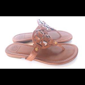 Tory Burch Shoes - Tory Burch Miller Logo Leather Brown Vachetta 5.5